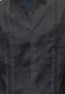 Beautiful Linen 100% Shirt. Short Sleeves. Fashion style. Miami Design. Black Color.