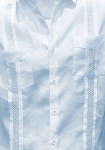 Beautiful Linen 100% Shirt. Short Sleeves. Fashion style. Miami Design. Light Blue Color.