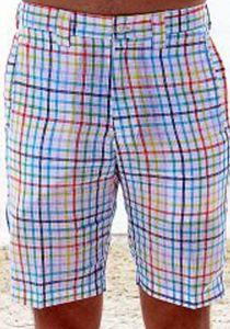 Linen Look Short for Men. Short Plaid. Aqua Color.