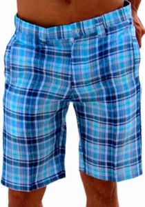 Linen Look Short for Men. Short Plaid. Blue Color.
