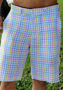 Linen Look Short for Men. Short Plaid. Pink Color.