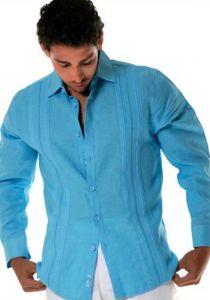 Linen Long Sleeve Shirt. NO pocktes. Best Seller. Aqua Color.