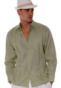 Traditional Cuban Guayabera Regular Linen. Long Sleeve. Four Pockets. Cuban Party Guayabera. Sage Color.