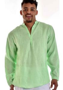 MAO Collar. Men Bohio 100% Pure Linen. Multi Truck. Long Sleeve Shirt. Lime Color.