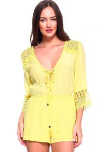 Women's Sexy V Neck Crochet Trim Romper with Drawstring Waistline. Runs Small. Yellow.