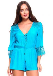 Women's Sexy V Neck Crochet Trim Romper with Drawstring Waistline. Runs Small. Aqua