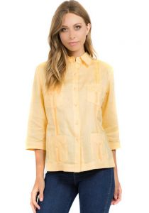 Guayabera Women. Sleeves 3/4. Linen Guayabera for Ladies. Yellow Color.