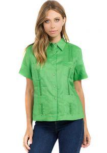 Guayabera Women. Short Sleeve Linen Guayabera for Ladies. Runs Big. Green Color.