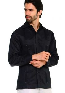 Traditional Guayabera Shirt Regular Linen Long Sleeve. Black Color.
