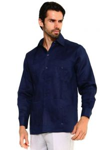 Traditional Guayabera Shirt Regular Linen Long Sleeve. Navy Color.