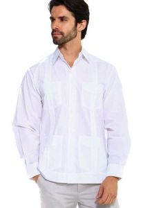Traditional Guayabera Shirt Regular Linen Long Sleeve. White Color.