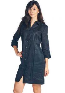 Linen Party Ladies Guayabera Dress 3/4 Sleeve. Juvenile Style. Black Color.