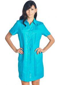 Ladies Guayabera Dress Short Sleeve. Linen. Cuban Party Guayabera Dress. Aqua Color.