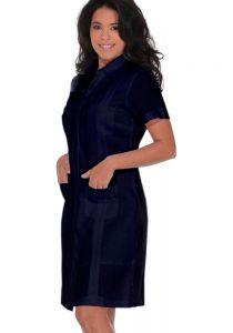 Ladies Guayabera Dress Short Sleeve. Linen. Cuban Party Guayabera Dress. Black Color.