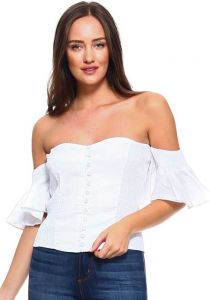 Women's Sexy Ruffled Strapless Corset Style Smocked Top with Faux Button Up. White Color.