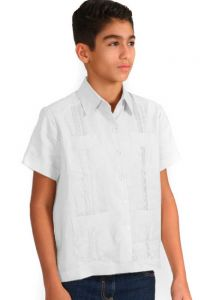 Junior Poly-Cotton Guayaberas. Short Sleeve. 8 to 14 Years. Juvenil. It Runs Small. White Color.