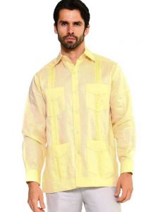 Long Sleeve Uniform Poly-Cotton Guayabera. Banana Light Yellow Color.