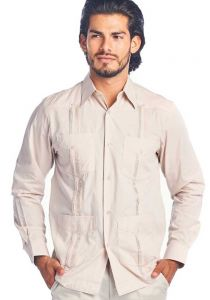 Long Sleeve Uniform Poly-Cotton Guayabera. Beige Color.