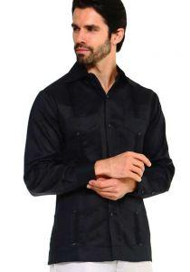 Long Sleeve Uniform Poly-Cotton Guayabera. Black Color.