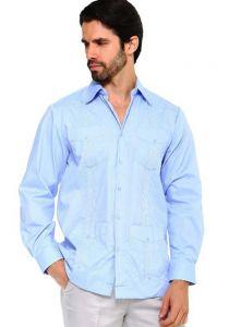 Long Sleeve Uniform Poly-Cotton Guayabera. Blue Color.