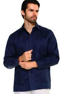 Long Sleeve Uniform Poly-Cotton Guayabera. Navy Color.