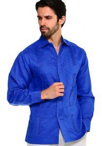 Long Sleeve Uniform Poly-Cotton Guayabera. Royal-Blue Color.