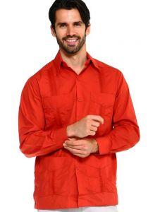 Long Sleeve Uniform Poly-Cotton Guayabera. Rust Color.