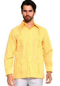 Long Sleeve Uniform Poly-Cotton Guayabera. Gold Color. Dark Yellow.