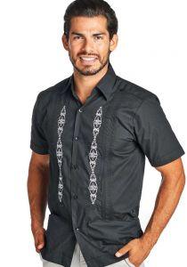 Groomsmen. Mexican Shirt Guayabera for Wedding. Poly-cotton Guayabera. Black Color.