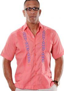 Groomsmen. Mexican Shirt Guayabera for Wedding. Poly-cotton Guayabera. Coral Color.