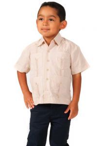Polyester Guayabera for Kids. (From 6 Months to 3 Years Old). Runs Small. Beige Color.
