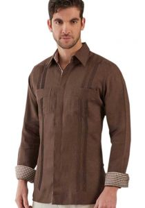 Guayabera Two Pockets. italian Linen. Exquisite Design. French CuFF. On demand.