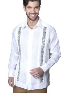 Trending Guayabera. Embroidery Guayabera Slim Fit. Linen 100 %. Elegant Guayabera. Double Eyelet for use Cufflinks. White Color. Back Orders or Demand.
