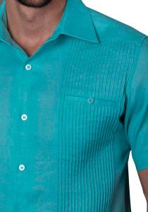 Deluxe Linen Shirt. High Quality. 100% Linen. Short Sleeves. Aqua Color. Back Orders or Demand.