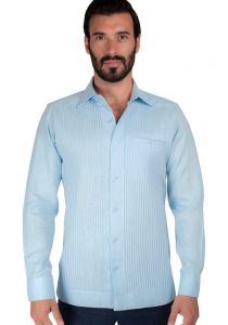 Deluxe Linen Shirt. High Quality. 100% Linen. Long Sleeve. Double Eyelet for use Cufflinks. Blue Color. Back Orders or Demand.