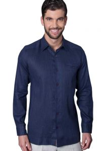 Deluxe Linen Shirt. High Quality. 100% Linen. Long Sleeves. Navy Color.  Back Orders or Demand.