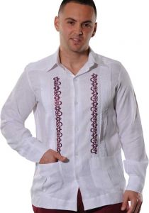 Finest Embroidered in Wine Color. Wedding Linen Shirt. Excellent Linen 100 %. Double Eyelet for use Cufflinks. Back Orders or Demand.