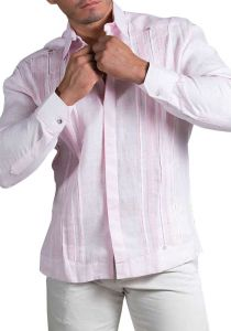 Exquisite Pink  Long Sleeve Shirt. Pleats on the Back. Solid Flamingo Pink Color. Linen 100 %. Back Orders
