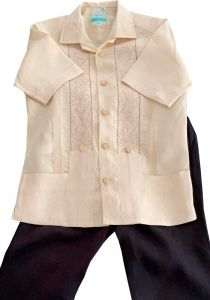Linen Set Guayabera for kids. Shirt and  Drawstring Pants. Linen 100 %