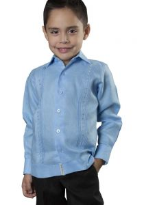 Deluxe Kids Festivities Guayabera. High Quality for Kids. Linen. Finest Tuck & Embroidery. Blue Color. Back Orders or Demand. RUN SMALL.