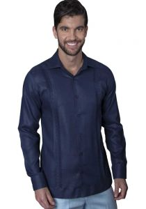 Guayabera Formal Shirt. 100% Linen. Long Sleeve. Finest Tuck & Embroidery. High Quality. Navy Color. Back Orders or Demand.