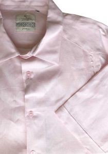 Guayabera Formal Shirt. 100% Linen. Short Sleeve. Finest Tuck & Embroidery. High Quality. Pink Color.  Back Orders or Demand.