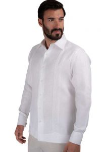 Guayabera Casual Shirt. 100% Linen. Long Sleeve. Finest Tuck & Embroidery. High Quality. White Color. Back Orders or Demand.