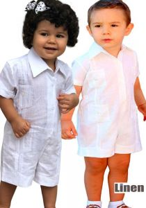 Infant Romper short Guayabera