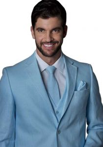 Linen Suit for Wedding. Light Blue Color.  Back Orders or Demand.