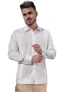 Grooms Deluxe Guayabera Finest Shirt. Hidden Button. Deluxe. White Color. Back Orders or Demand.