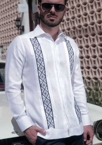 Trending Embroidery Guayabera Slim Fit. Linen 100 %. Double Eyelet for use Cufflinks. Back Orders or Demand.