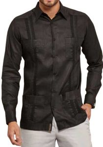 Mexican Traditional Guayabera. Long Sleeve. Premium 100% Linen. Haute Couture. Black Color. Back Orders or Demand.