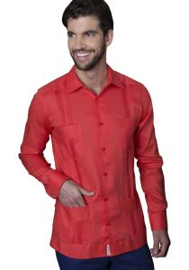 Mexican Traditional Guayabera. Long Sleeves. Premium 100% Linen. Haute Couture. Coral Color. Back Orders or Demand.