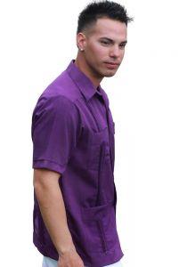 Guayabera. Short Sleeve. Poly-Cotton Guayabera. Uniform. Purple Color.